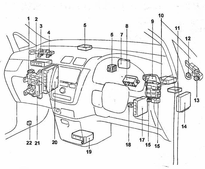 предохранители Toyota Ipsum с 2001